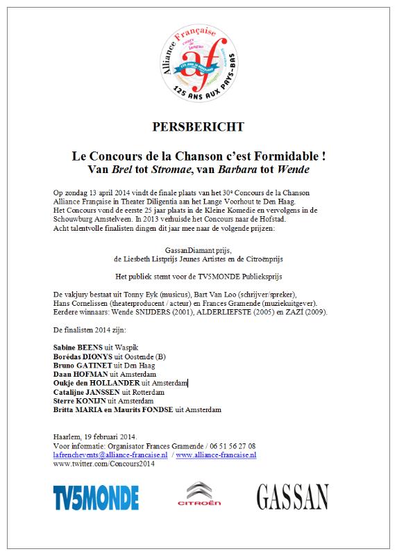 persbericht - Concours de la Chanson